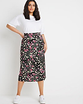 Mixed Floral Full Jersey Midi Skirt