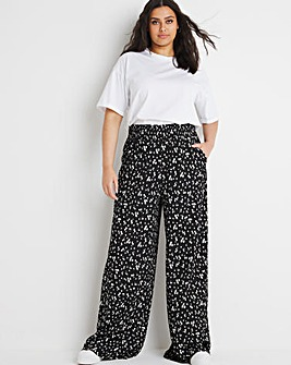 Ditsy Floral Waffle Shirred Waist Wide Leg Trousers