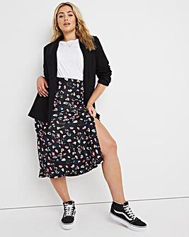 Ditsy Satin Side Split Midi Skirt