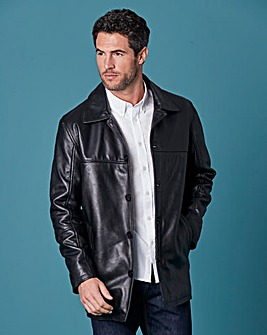 W&B Black Leather Car Coat R