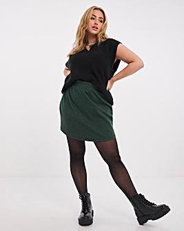 Green Gingham Ponte Circle Hem Mini Skirt