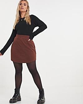 Orange Gingham Ponte Circle Hem Mini Skirt