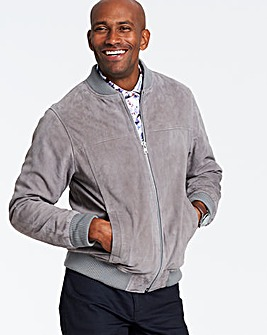 Grey Suede Bomber Jacket Regular
