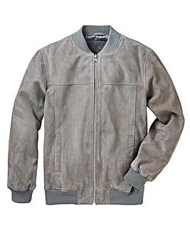 Grey Suede Bomber Jacket Regular