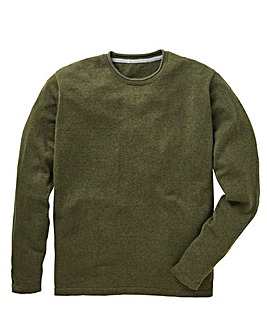 Olive Rolled Crew Neck Jumper Regular