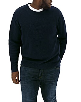 Navy Textured Crew Neck Jumper Regular
