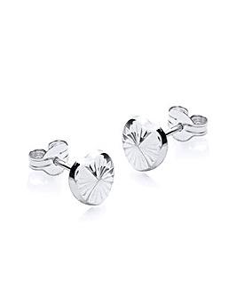 9Ct Gold Diamond Cut Heart Studs