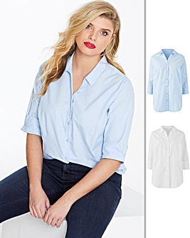 Pack of 2 White/Blue Shirts