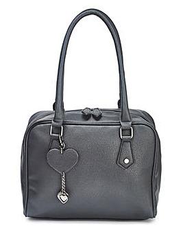 Lola Black Bowler Bag with Heart Keyring