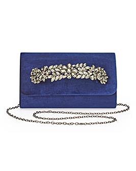 Joanna Hope Navy Velvet Clutch Bag