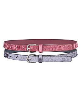 Pack of 2 Velvet Jeans Belts