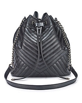 Chevron Quilted Duffle Bag With Chain