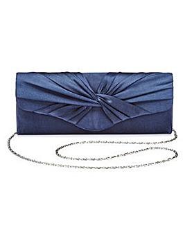 Ava Navy Satin Clutch Bag