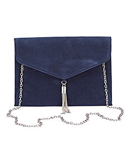 Navy Tassel Trim Clutch Bag