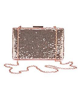 Rose Gold Sequin Clutch Bag