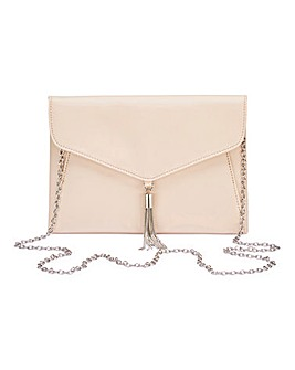 Nude Tassel Trim Clutch Bag