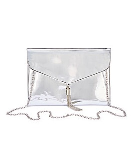Silver Tassel Trim Clutch Bag