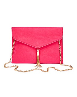 Fuschia Tassel Trim Clutch Bag