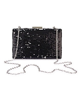Black Sequin Clutch Bag