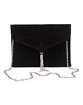 Black Tassel Trim Clutch Bag