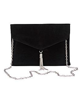 Black Tassel Trim Clutch Bag