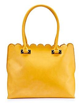 Scalloped Edge Mustard Shopper Bag