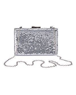 Silver Sequin Clutch Bag