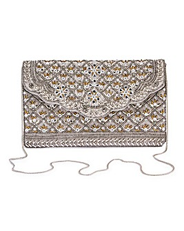 Joanna Hope Grey Embellished Clutch Bag
