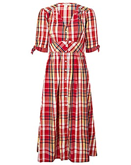 Monsoon Check Organic Cotton Midi Dress
