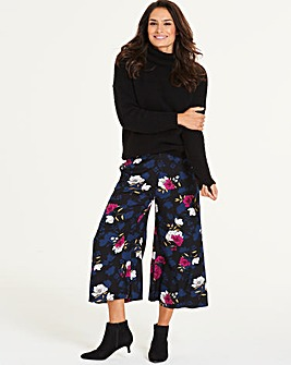 Floral Print Wide Leg Culottes Regular