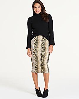 Snake Print Jersey Tube Midi Skirt