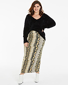 Animal Print Jersey Tube Maxi Skirt