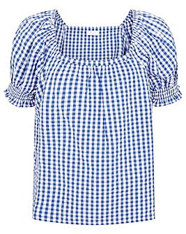 Monsoon Gingham Top in Pure Cotton