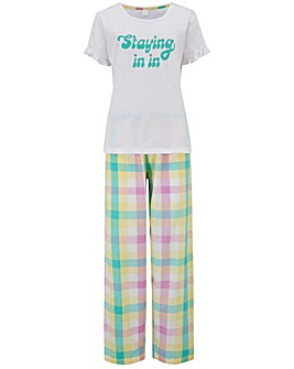 Pour Moi Staying In Cotton Jersey T-shirt & Check Trouser Pyjama