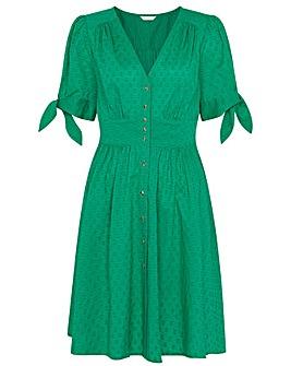 Monsoon Button-Through Puff Sleeve Dress