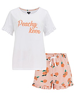 Pour Moi Peachy Keen Cotton Jersey T-Shirt & Short Pyjama