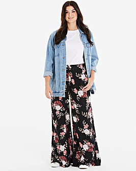 Black/Blush Floral Tall Superwide Trousr