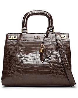 Guess Katey Luxury Moc Croc Satchel Bag