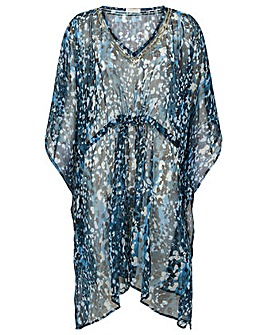 Monsoon MAYA ANIMAL PRINT SEQUIN KAFTAN