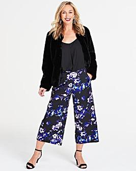 Petite Foil Print Crop Wide Leg Trousers