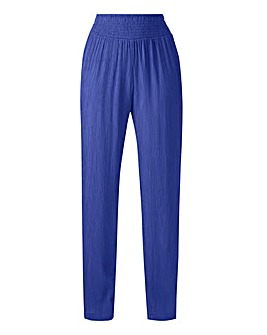 Crinkle Shirred Waist Tapered Trousers