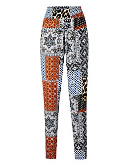 Tile Print Shirred Waist Tapered Trouser
