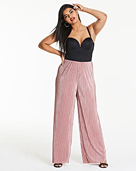Plisse Wide Leg Trousers