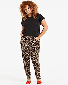 Petite Black Animal Tapered Trousers