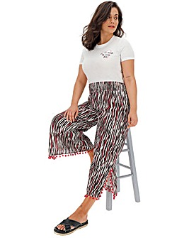 Simply Be Considered Pink Zebra Print Wide Leg Culottes with Pom Pom Trims
