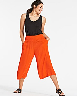 Crinkle Shirred Waist Culottes