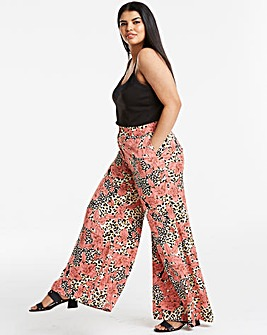 Animal Print Superwide Leg Trousers