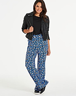 Floral Print Wide Leg Jersey Trousers