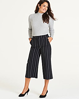 Smart Pinstripe Wide Crop Trousers