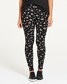 Black Floral Print Jersey Leggings